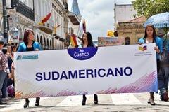 Célébration pendant les 460 années de la base du ` s de Cuenca, Equateur images libres de droits