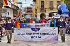Célébration pendant les 460 années de la base du ` s de Cuenca, Equateur Photo stock