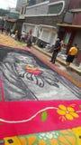 Célébration religieuse Tegucigalpa Honduras d'été de préparation de tapis colorée par sciure 2019 5 photo stock