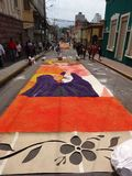 Célébration religieuse Tegucigalpa Honduras d'été de préparation de tapis colorée par sciure 2019 14 images libres de droits