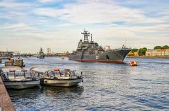 Célébration russe de jour de marine sur la rivière de Neva Photos libres de droits