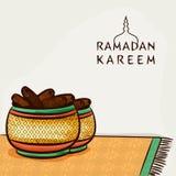 Célébration sainte de Ramadan Kareem de mois de musulmans avec les dates douces illustration de vecteur