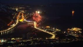 Célébration Victory Day de feux d'artifice dans le grand guerre 9 mai patriotique banque de vidéos