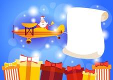 Célébration vide de nouvelle année de l'espace de copie de bannière de Santa Clause Flying Airplane Carrying Images libres de droits