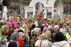 Célébrations de dimanche de paume dans l'église orthodoxe Photographie stock libre de droits