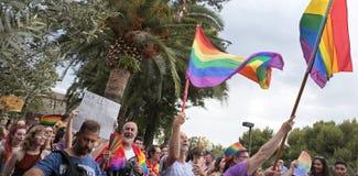 Célébrations de fierté de LGBT en Majorque au loin image stock