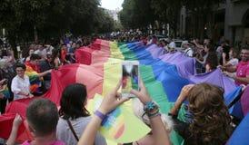 Célébrations de fierté de LGBT en Majorque au loin image libre de droits