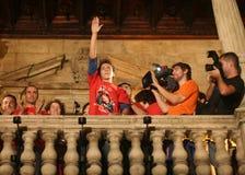 Célébrations de Jorge Lorenzo dans le détail de palma Photos stock