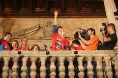 Célébrations de Jorge Lorenzo dans le détail de palma Photographie stock libre de droits