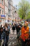 Célébrations de Queensday à Amsterdam images libres de droits