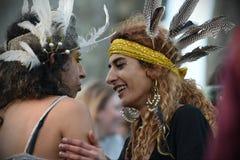 Célébrations de solstice d'hiver chez Stonehenge photographie stock libre de droits