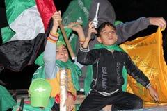 Célébrations de victoire à Gaza image libre de droits