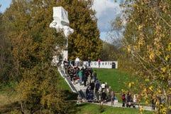 Célébrations en l'honneur de l'anniversaire de la libération des envahisseurs nazis dans le mémorial dans le village d'Ilinskoe d images stock