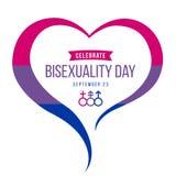 Célébrez la bannière de jour de bisexualité avec le cadre de coeur et la conception bleus, pourpres et roses de vecteur de signe  illustration stock
