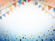 Célébrez la bannière Drapeaux de partie avec des confettis Vecteur illustration de vecteur