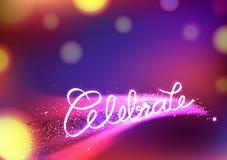 Célébrez la calligraphie de message, les étoiles filantes magiques, imagination avec la queue rougeoyante lisse de courbe, abrégé illustration stock