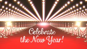 Célébrez le texte de nouvelle année avec les lumières clignotantes et le tapis rouge banque de vidéos