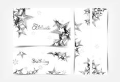 Célébrez, les bannières argentées de décoration d'étoiles, les parties vacances de l'hiver de Noël, le bon de cadeau et la collec illustration libre de droits