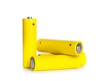 Célula de batería amarilla Foto de archivo libre de regalías