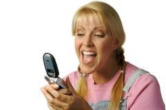 Célula feliz de Texting de la muchacha Imagen de archivo