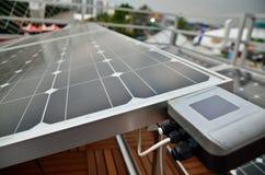 A célula solar e o medidor fotografia de stock royalty free