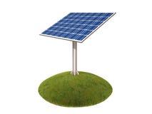 Célula solar en la hierba en un fondo blanco stock de ilustración