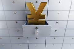 Célula vacía abierta del depósito bancario de la muestra de yenes stock de ilustración