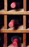 Células con tres botellas de vino Fotos de archivo libres de regalías