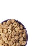 Céréale de petit déjeuner avec des formes de coeur Images stock