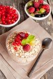 Céréale et diverse baie pour le petit déjeuner, plan rapproché, vertical Images stock
