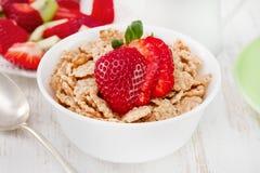 Céréales avec la fraise dans la cuvette Photographie stock libre de droits