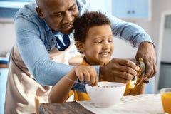 Céréales fourragères de jeune père joyeux au jouet de son fils Photographie stock