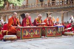 Cérémonie chez le Punakha Dzong, Punakha, Bhutan Photographie stock libre de droits