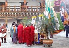 Cérémonie chez le Punakha Dzong, Punakha, Bhutan Photo stock