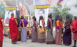 Cérémonie chez le Punakha Dzong, Punakha, Bhutan Images libres de droits