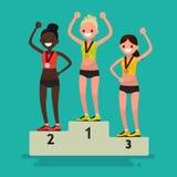 Cérémonie d'attribuer des médailles Trois athlètes féminins sur le pedest illustration stock