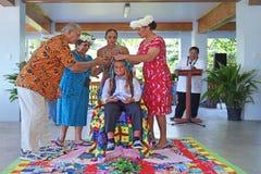 Cérémonie de Haircutting dans le cuisinier Islands de Matavera Rarotonga Photographie stock