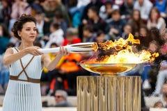 Cérémonie de la flamme olympique pour des Jeux Olympiques d'hiver Image stock