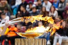 Cérémonie de la flamme olympique pour des Jeux Olympiques d'hiver Photographie stock libre de droits