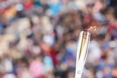 Cérémonie de la flamme olympique pour des Jeux Olympiques d'hiver Photos libres de droits