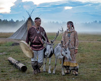 Cérémonie de mariage des peuples du nord Photographie stock