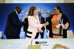 Cérémonie de signatures de contrats Territoires à Energie Positive pour la Croissance et Territoires Zéro Déchet Zéro Gaspil Royalty Free Stock Photos