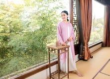 Cérémonie de thé de Bamboo fenêtre-Chine de spécialiste en art de thé Photos stock