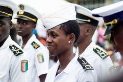 Cérémonie pour de jeunes marins laissant l'académie image libre de droits