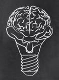 Cérebro abstrato como um bulbo ilustração stock