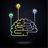 Cérebro com bulbos coloridos Fotografia de Stock