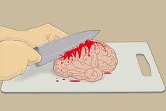 Cérebro com faca Imagens de Stock Royalty Free