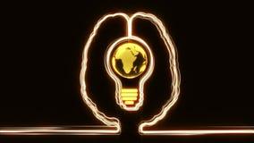 Cérebro com mundo em um bulbo para dentro ilustração stock