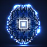 Cérebro de néon Processador central Placa de circuito Imagens de Stock Royalty Free