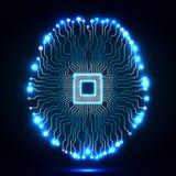 Cérebro de néon Processador central Placa de circuito Foto de Stock Royalty Free